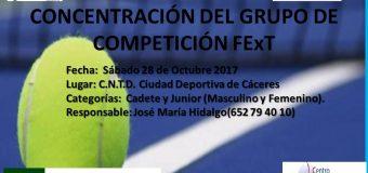 Concentración del Grupo de Competición FExT: Sábado 28 de Octubre Ciudad Deportiva de Cáceres