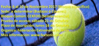 Abierto el plazo de inscripción del Curso de Entrenador Deportivo en Tenis Nivel 1 en Extremadura
