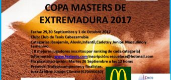 Copa Masters Extremadura 29,30 Septiembre y 1 Octubre en el Club de Tenis Cabezarrubia