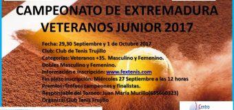 Campeonato de Extremadura de Veteranos Junior 29 Septiembre al 1 Octubre en el Club Tenis Trujillo