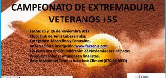Campeonato de Extremadura de Veteranos +55 en C.T. Cabezarrubia 25  y 26 de Noviembre