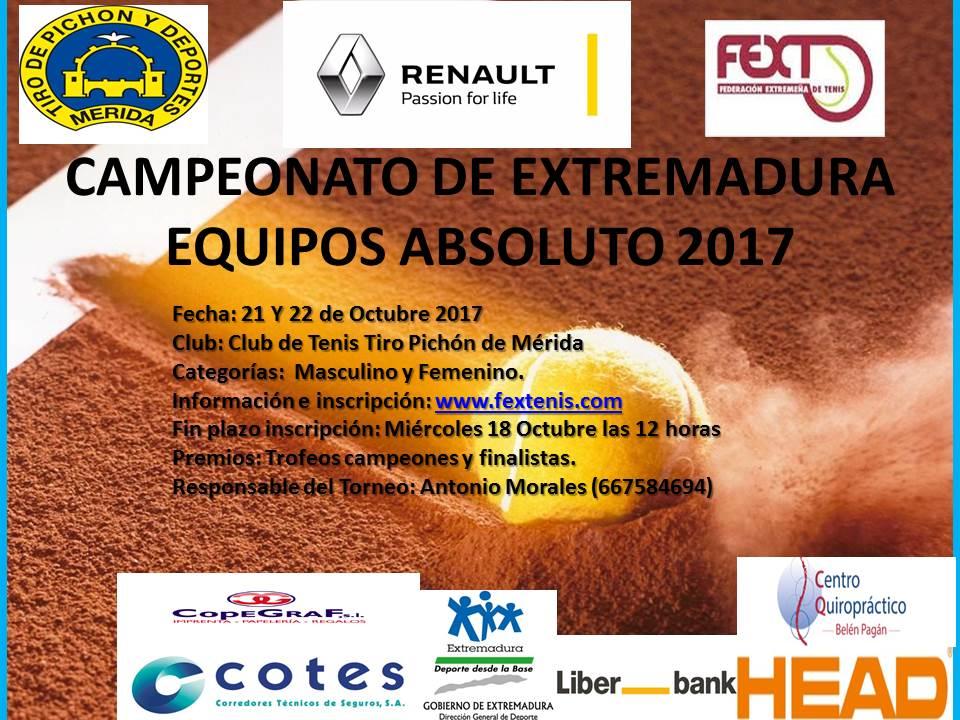 Campeonato de Extremadura por Equipos Absoluto 21 y 22 Octubre C.T.Tirón Pichón