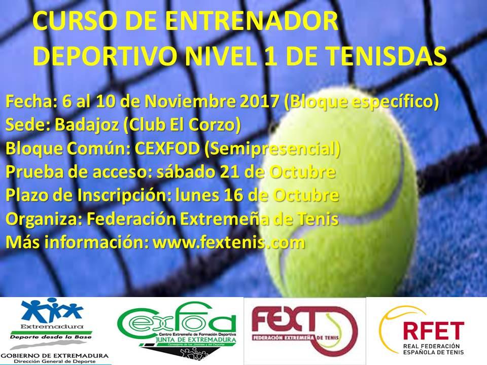 Curso de Entrenador Deportivo en Tenis Nivel 1 en Extremadura