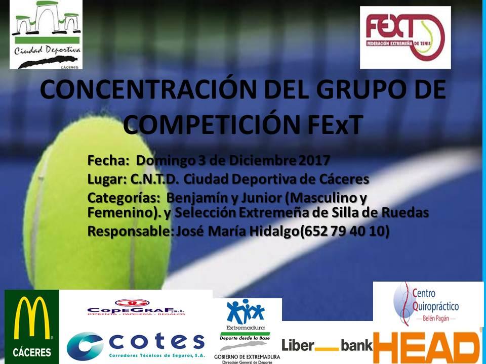 Concentración del Grupo de Competición FExT: Domingo 3 de Diciembre Ciudad Deportiva de Cáceres