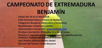 Campeonato de Extremadura Benjamín 20 al 22 Abril Sociedad Hípica Lebrera de Badajoz