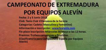 Campeonato de Extremadura por Equipos Alevín 2 y 3 de Junio T.C.Villanueva