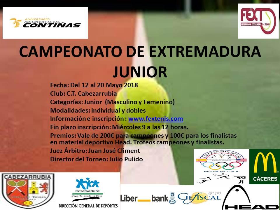 Campeonato de Extremadura Junior 12 al 20 de Mayo C.T.Cabezarrubia