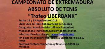 """Campeonato de Extremadura Absoltuto """"Trofeo Liberbank"""" del 15 al 23 de Septiembre en el C.T.Cabezarrubia"""