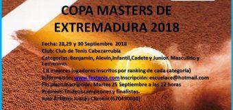Copa Masters Extremadura 28,29 y 30 Septiembre en el Club de Tenis Cabezarrubia