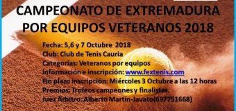 Campeonato de Extremadura por Equipos de Veteranos 5,6 y 7 de Octubre en el C.T.Cauria