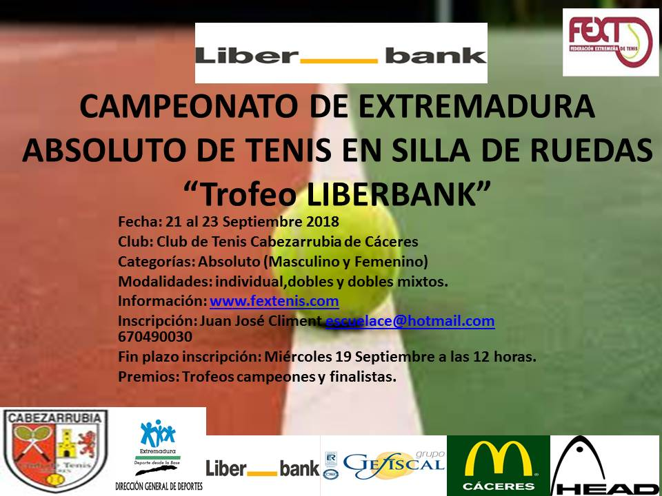 """Campeonato de Extremadura Absoluto de Tenis en Silla de Ruedas""""Trofeo Liberbank"""" en el C.T.Cabezarrubia"""