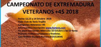 Campeonato de Extremadura de Veteranos +45 en el C.T. Trujillo del 12 al 14 de Octubre