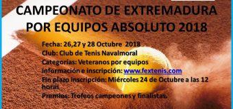 Campeonato de Extremadura Absoluto por Equipos del 26 al 28 Octubre C.T Navalmoral