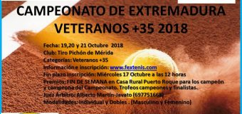 Campeonato de Extremadura de Veteranos +35 del 19 al 21 de Octubre en C.T. Tiro Pichón de Mérida