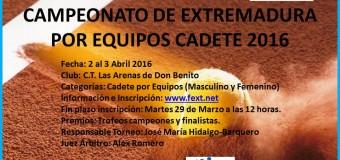 Cabezarrubia y Casino Campeones de Extremadura por Equipos Cadete en el  C.T. Las Arenas